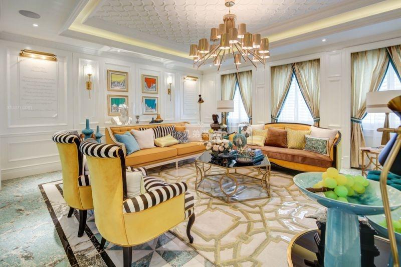 大户型时尚风格客厅沙发背景墙