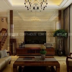 淄博别墅装修碧桂园238平中式风格设计案例
