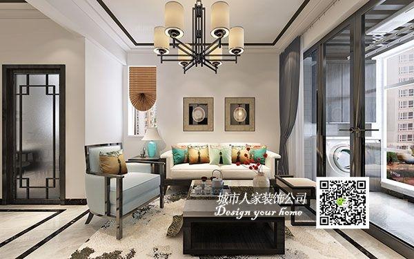 【烟台城市人家装饰】安德利花园99平米新中式风格效果图展示