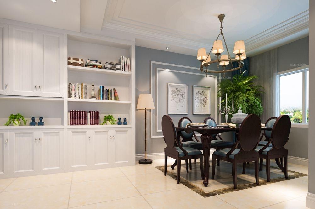 三室两厅美式风格餐厅_清渭公馆装修效果图