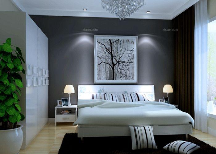 两居室现代简约卧室卧室背景墙