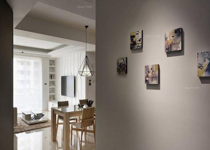 三居室现代简约过道照片墙