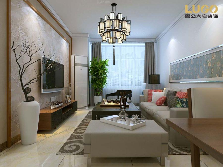 三室一厅中式风格客厅沙发背景墙