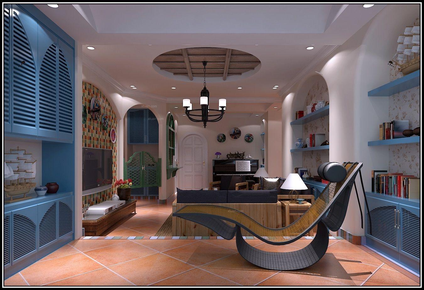 四居室地中海风格客厅电视背景墙