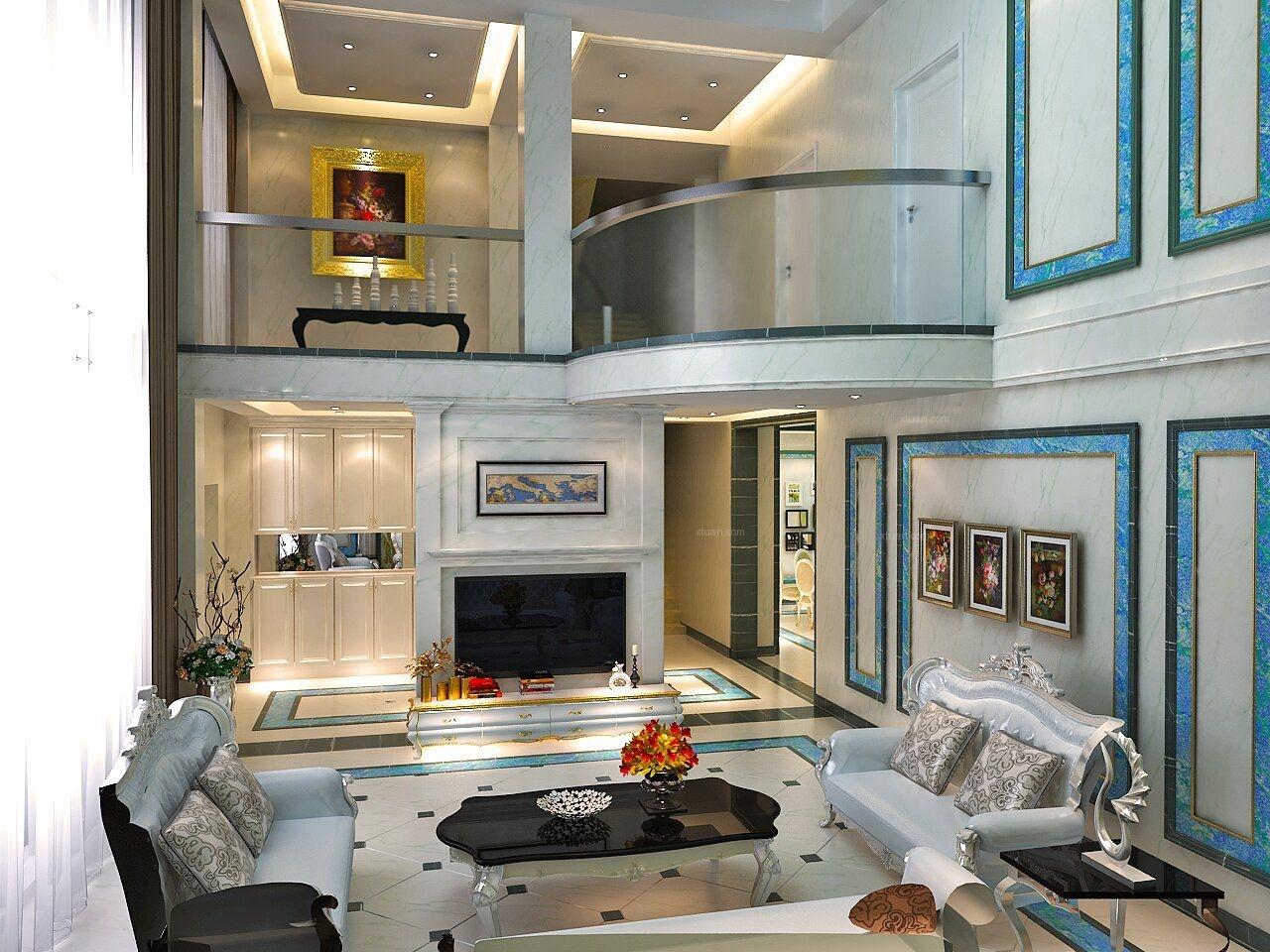 别墅法式风格客厅电视背景墙