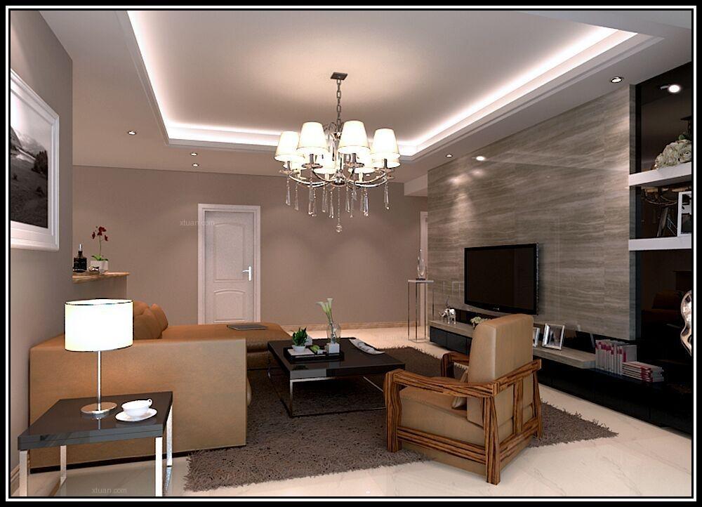 四居室现代简约客厅电视背景墙_港式风装修效果图图片