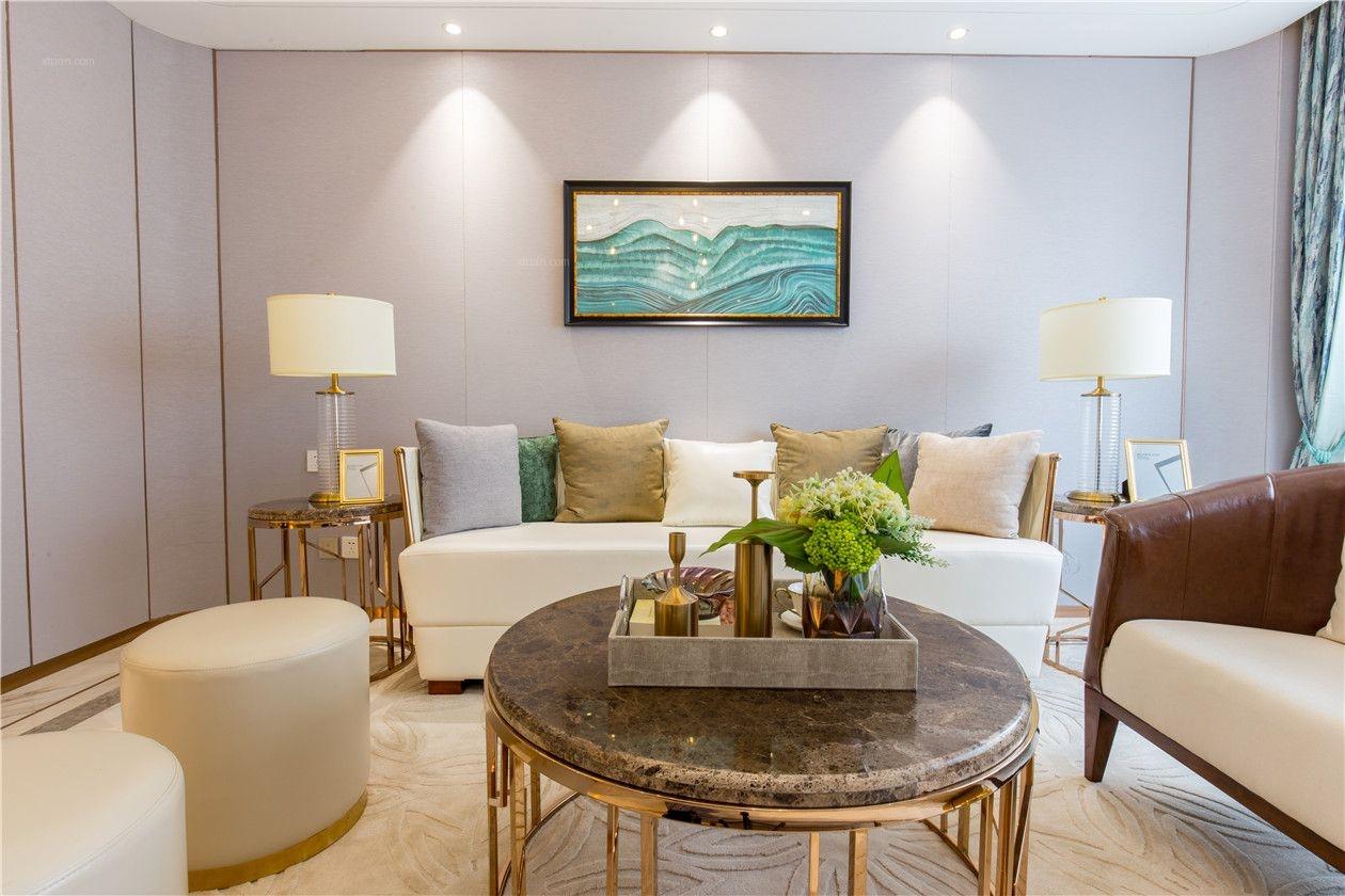 四居室现代简约客厅沙发背景墙_欧式风格装修效果图图片