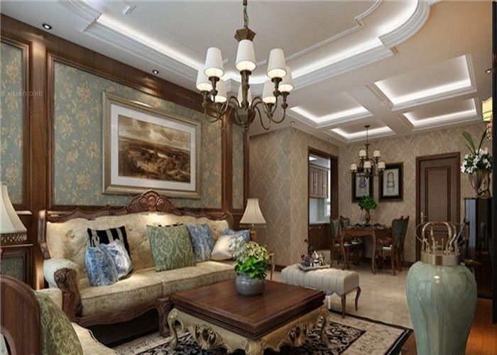 四居室美式風格客廳沙發背景墻_同煤新苑四居室裝修