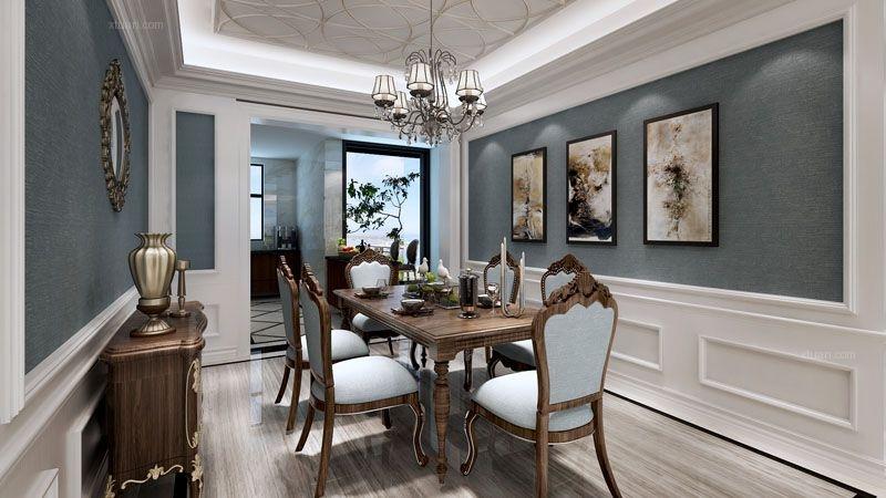 两居室美式风格餐厅照片墙