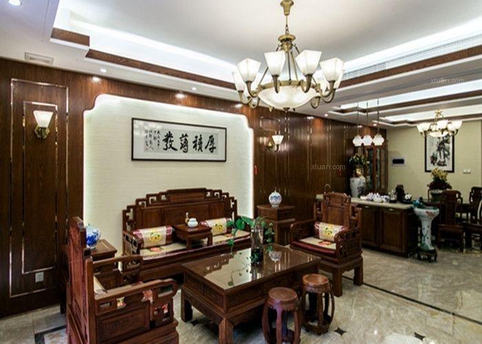 大户型混搭风格客厅沙发背景墙