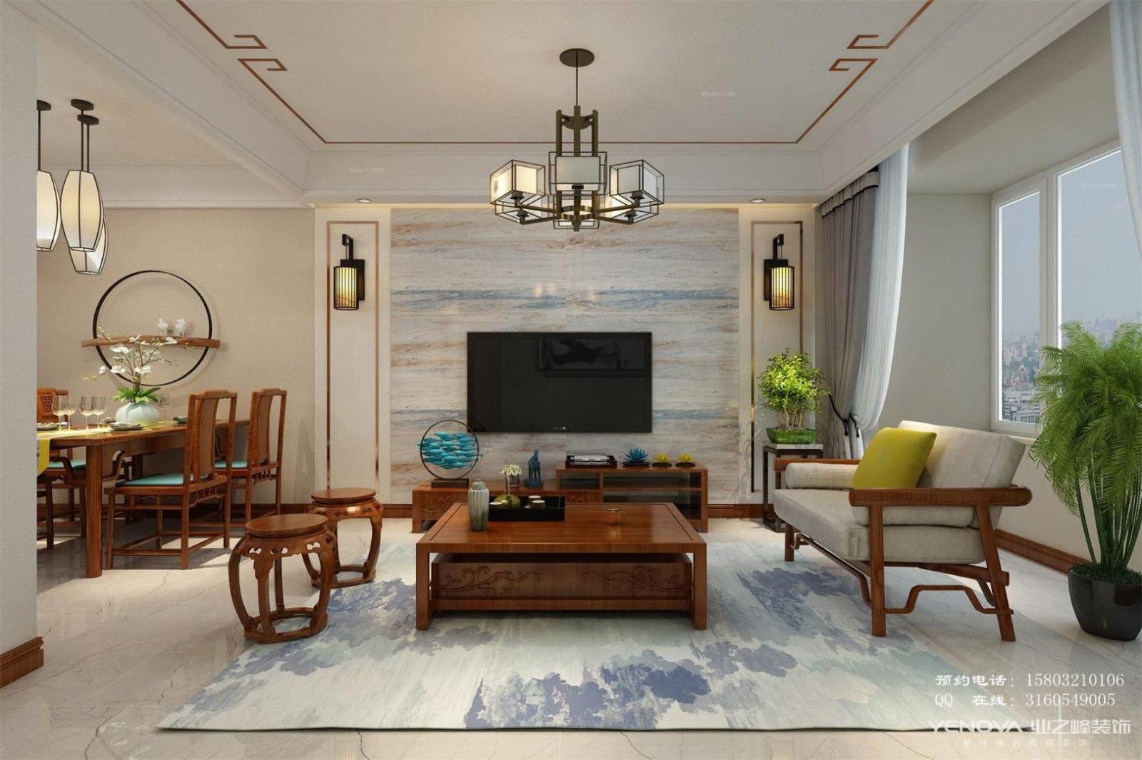 保利拉菲98平三居室新中式装修设计-石家庄业之峰装饰