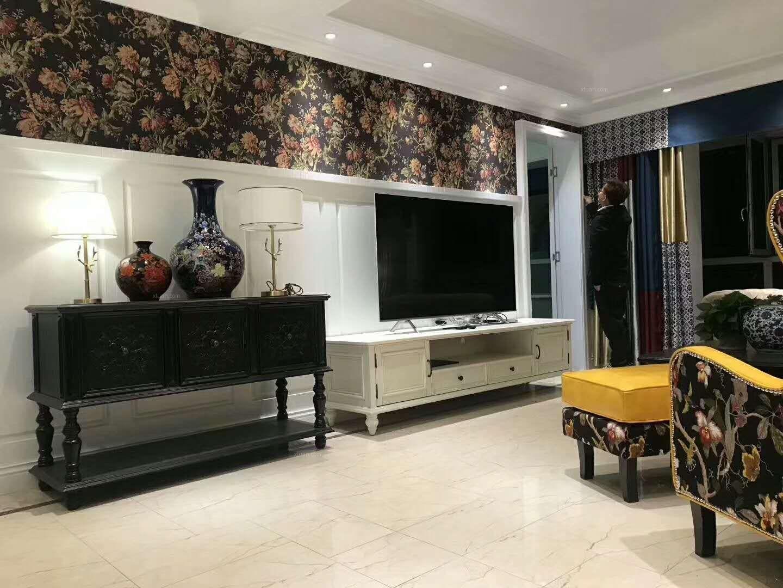 三居室美式风格客厅电视背景墙
