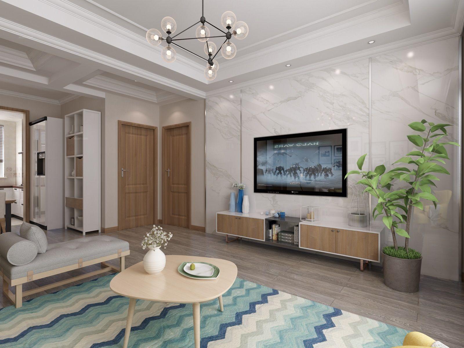 三室一厅现代简约客厅电视背景墙