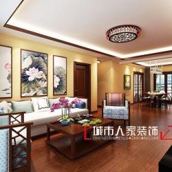 上海滩花园129平新中式风格效果图展示