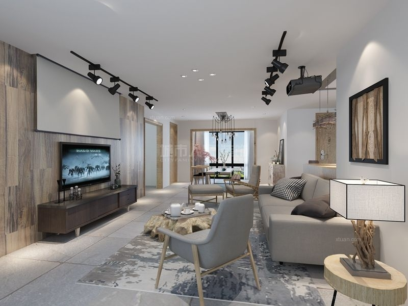 四居室北欧风格客厅电视背景墙