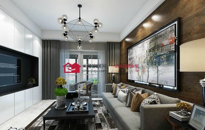 三居室简约风格客厅沙发背景墙