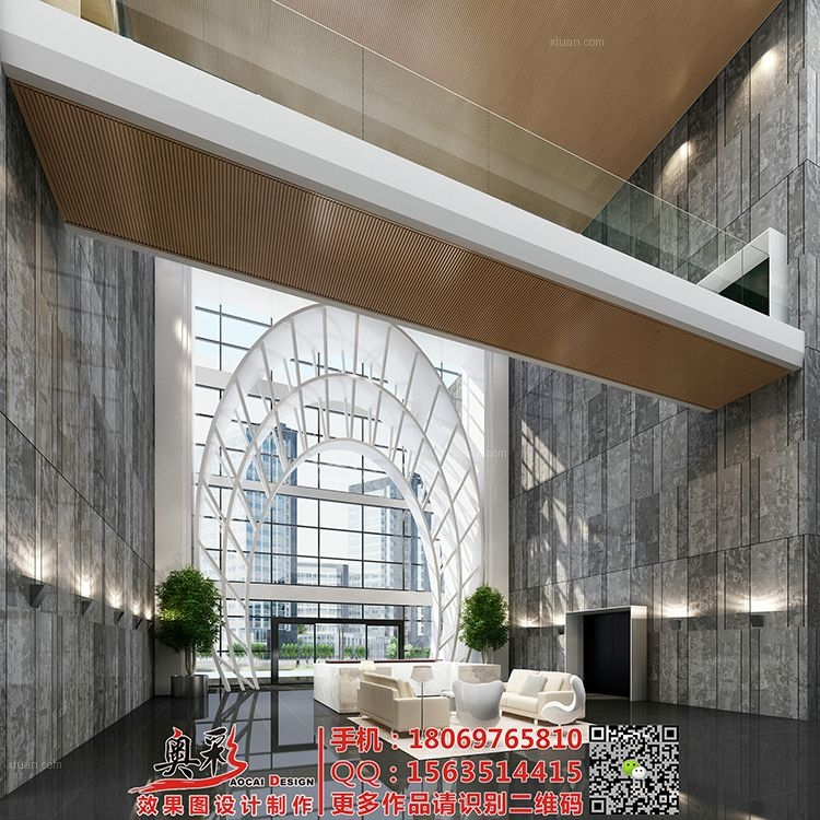 酒店宾馆大堂大厅会所效果图设计/工装办公楼3D效果图/cad施工图