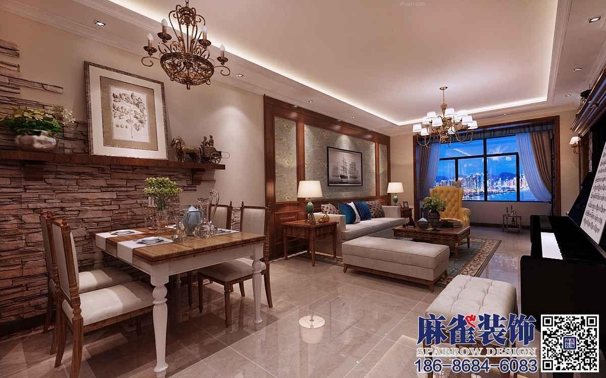 两室一厅美式风格客厅