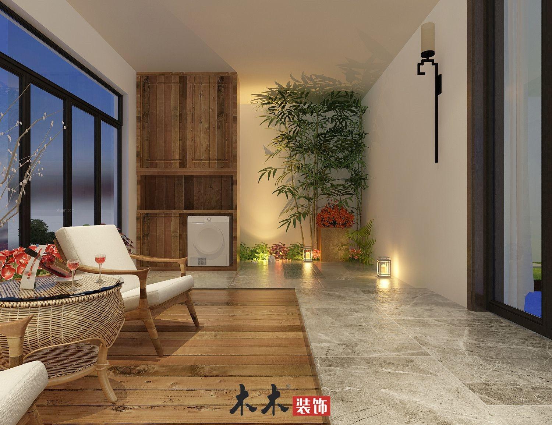 三居室中式风格阳台花园
