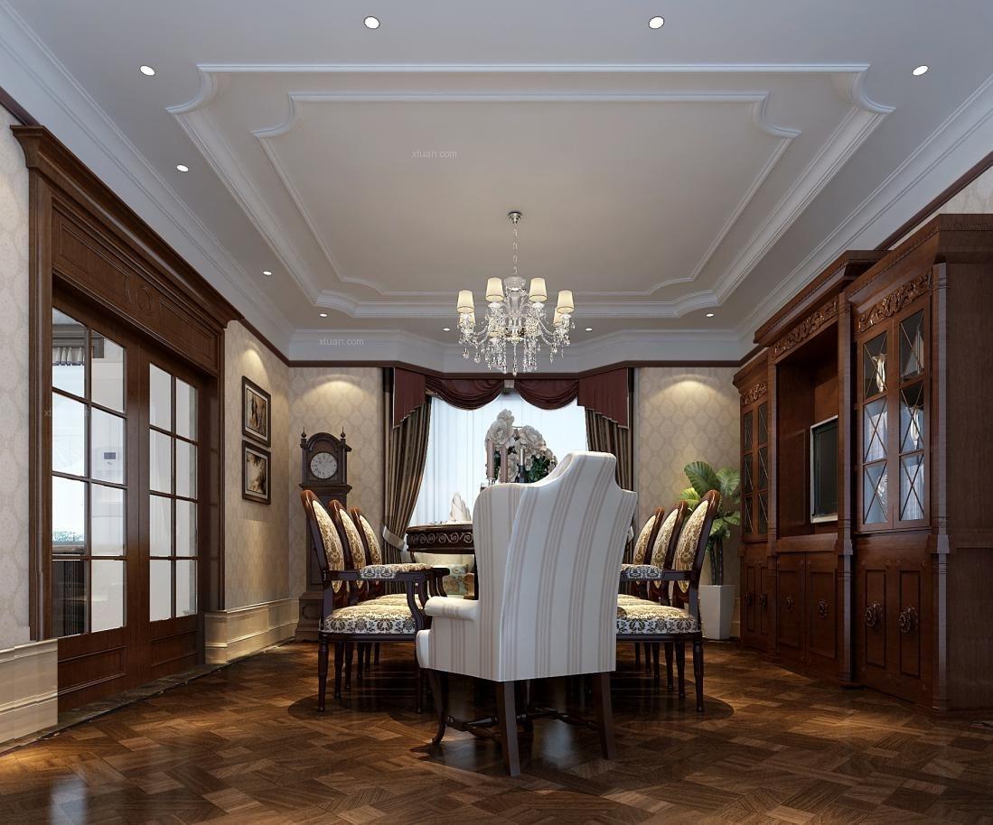 别墅欧式风格餐厅客厅隔断