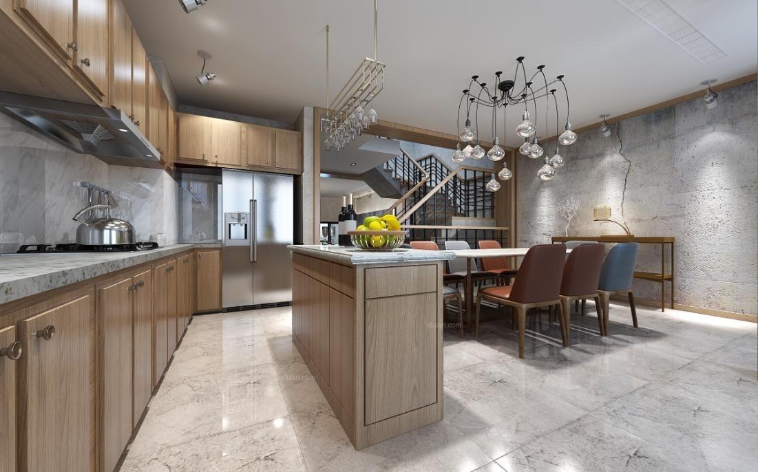 别墅现代风格厨房开放式厨房