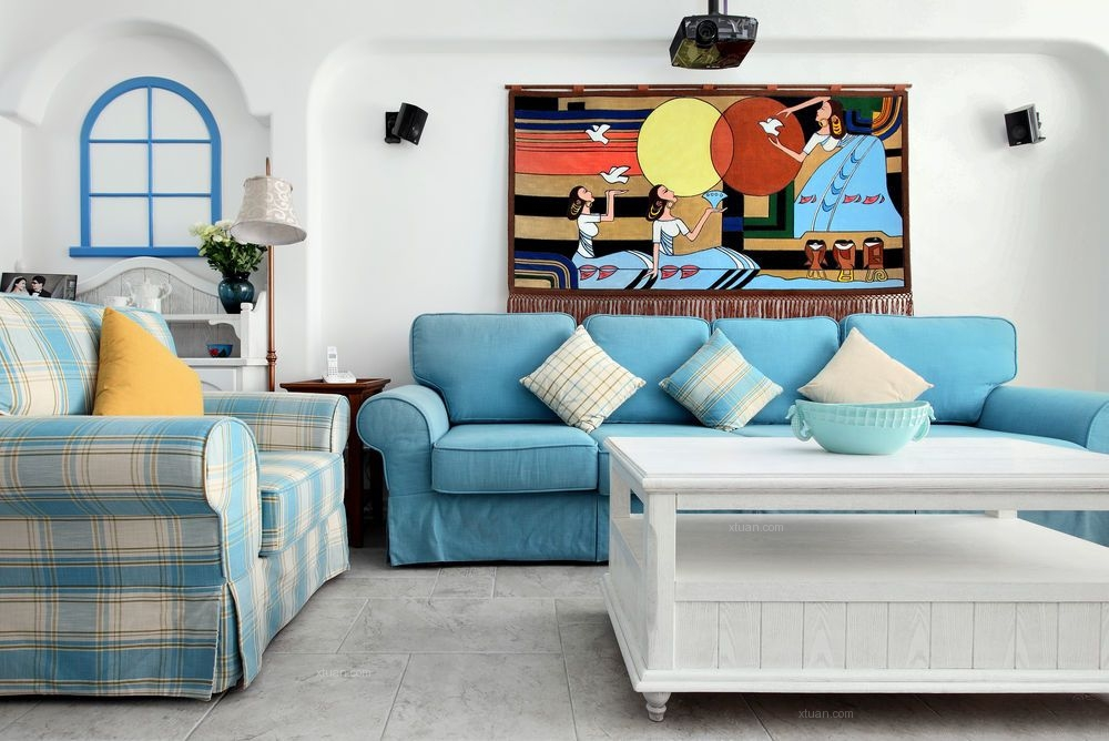 三室两厅地中海风格客厅沙发背景墙