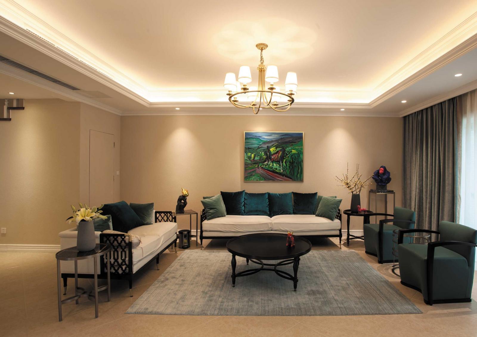 三居室田园风格客厅软装