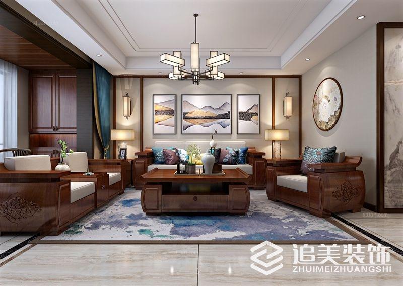 三室两厅中式风格客厅沙发背景墙