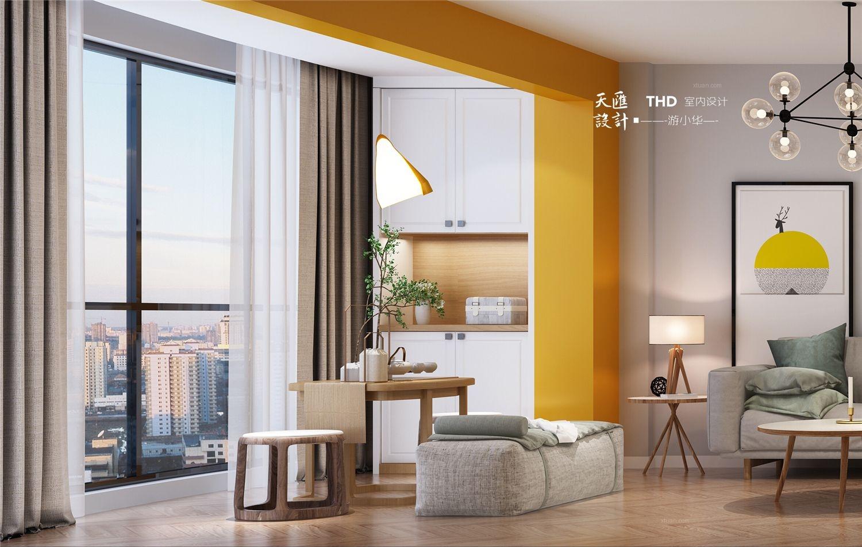 四居室现代简约客厅沙发背景墙