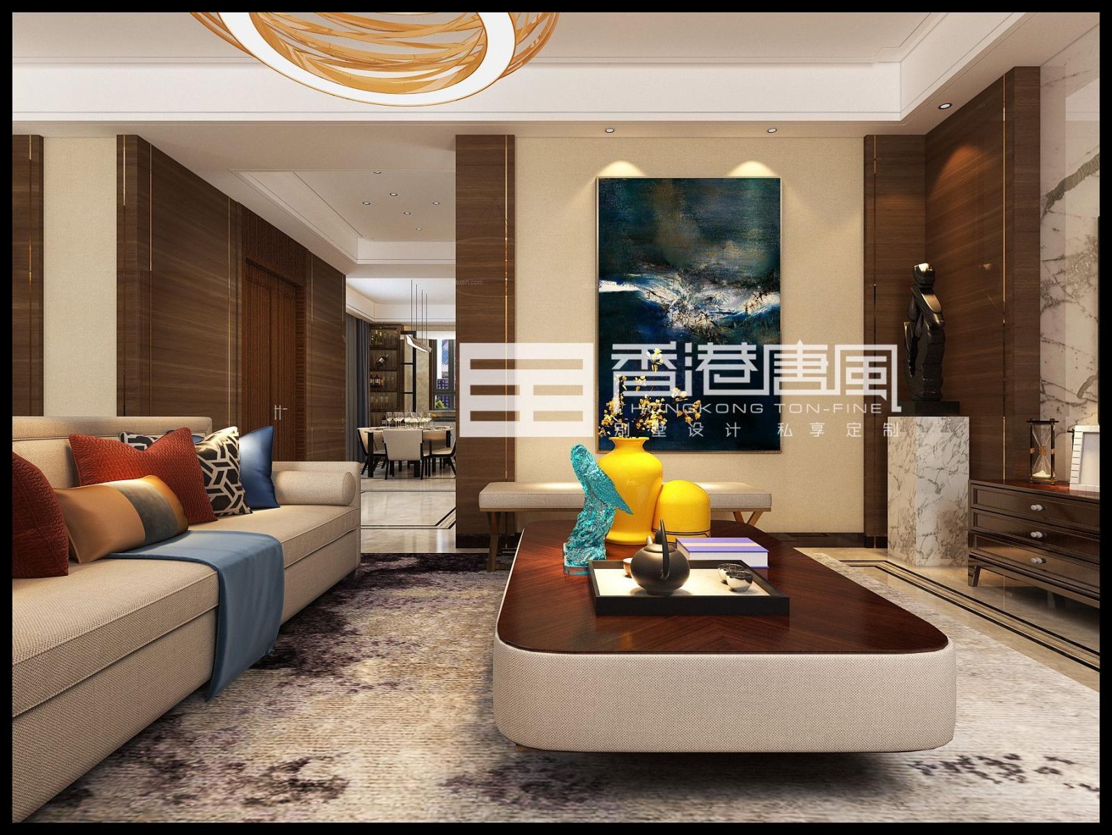 济南华润仰山新中式风格别墅装修设计|济南香港唐风别墅装修