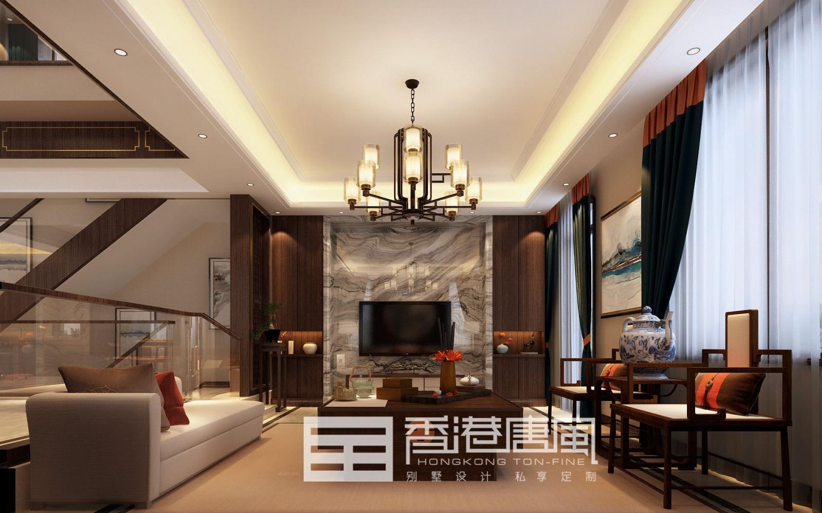 济南中海央墅320平新中式风格装修|济南香港唐风别墅装修
