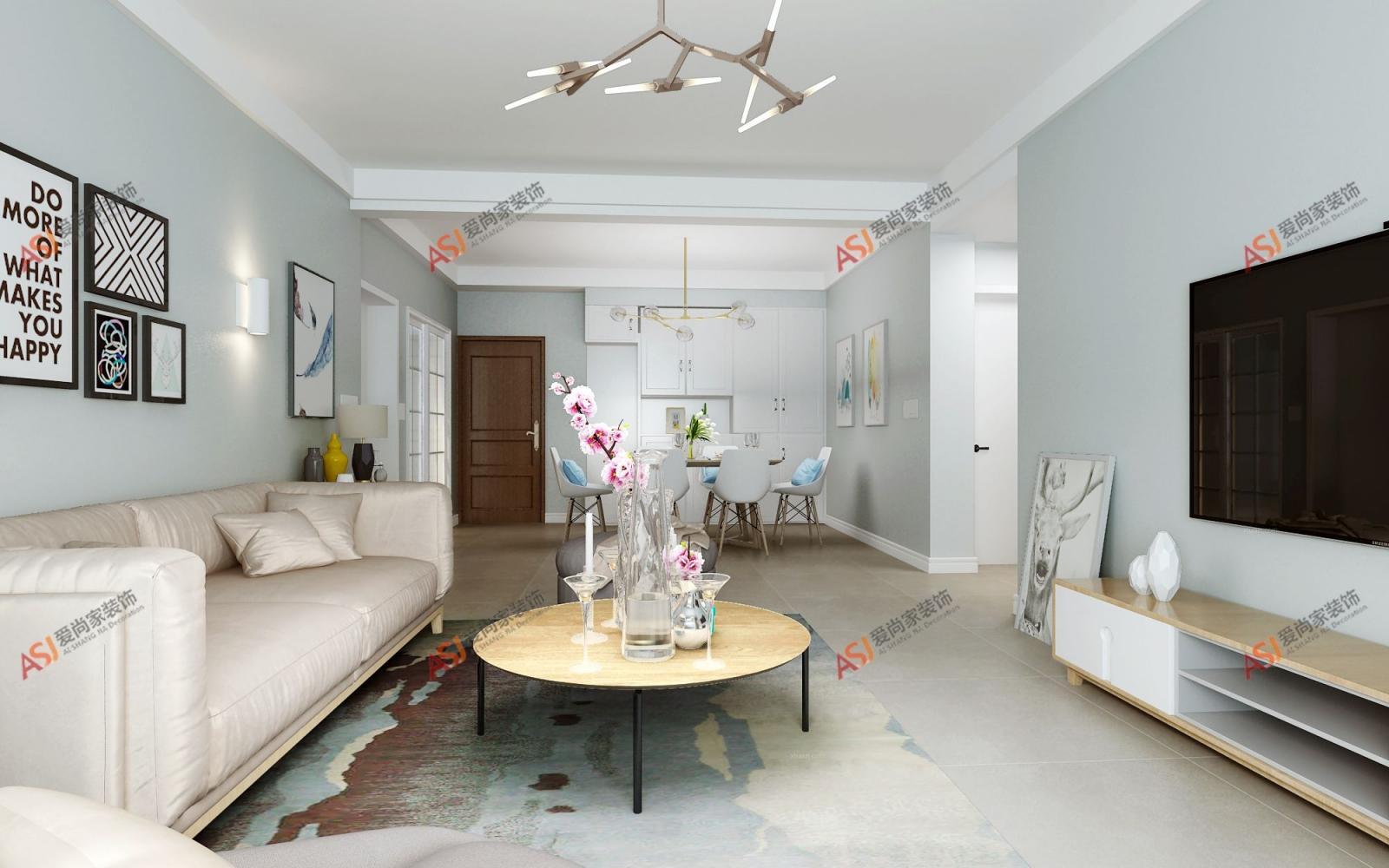 三居室北欧风格客厅软装