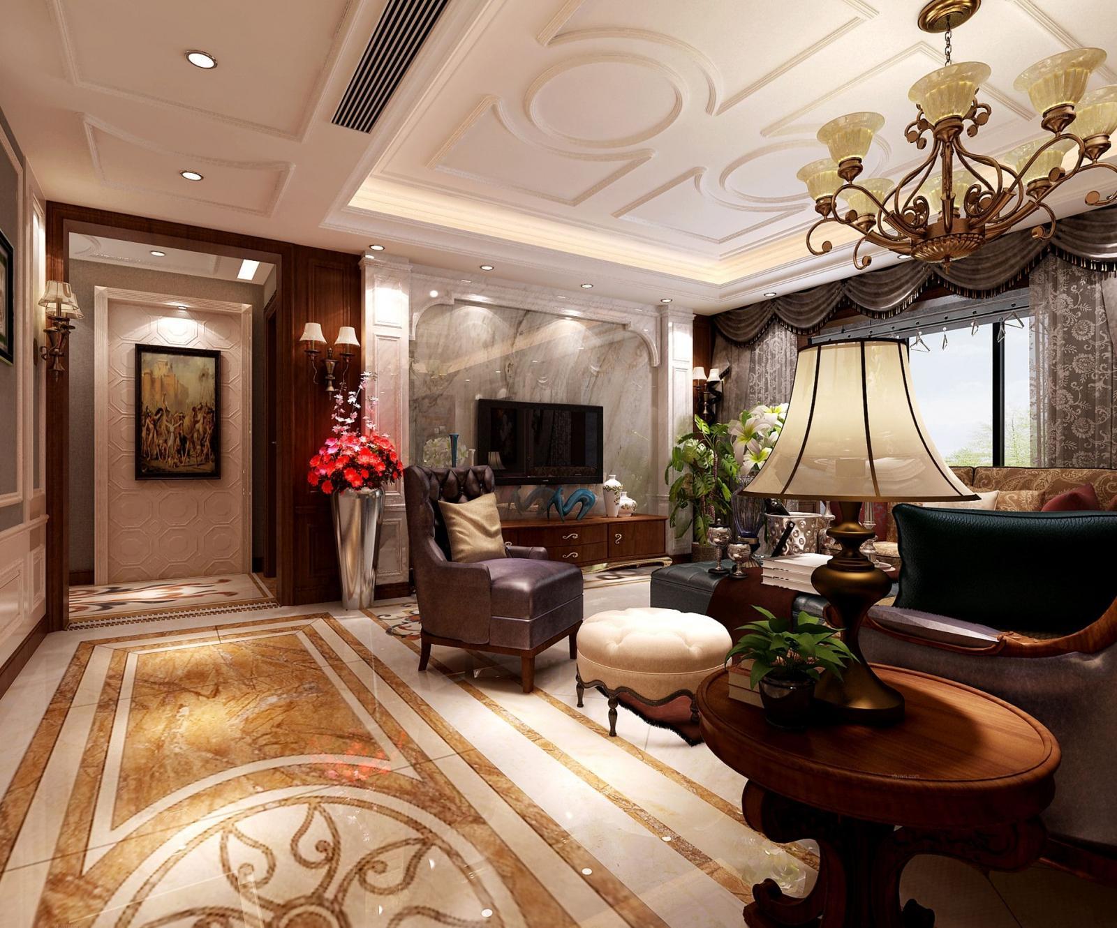 四居室美式风格客厅电视背景墙