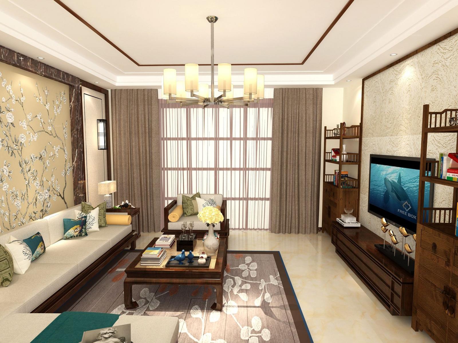 四居室新古典客厅沙发背景墙