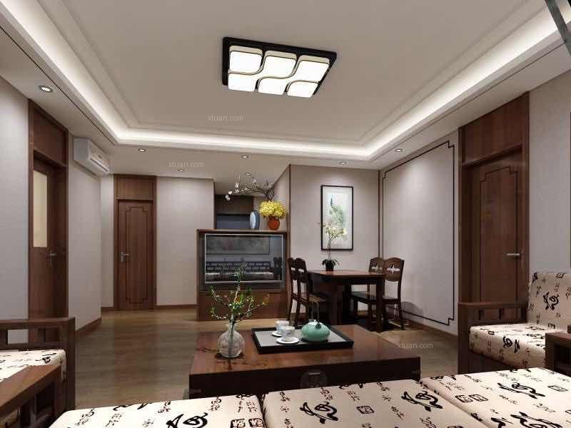三居室新古典客厅墙绘