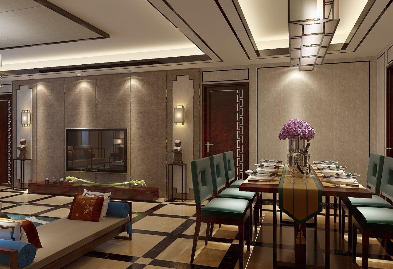 三居室新古典餐厅墙绘