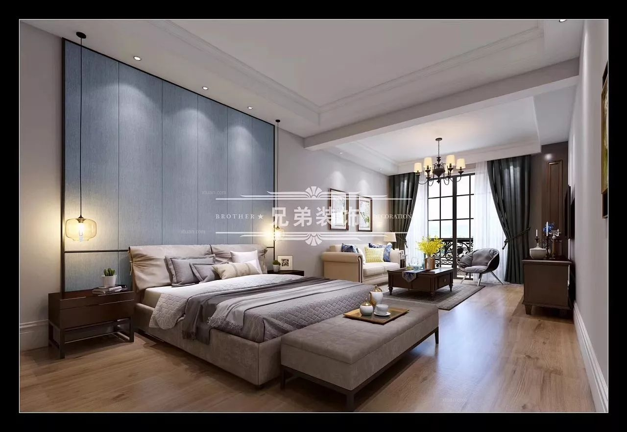 三居室田园风格卧室