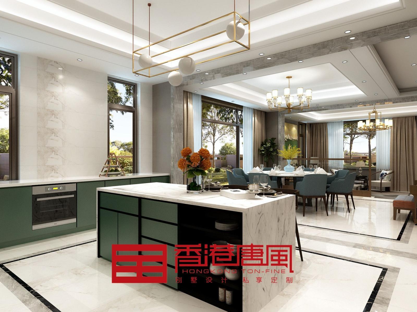 别墅现代简约厨房开放式厨房