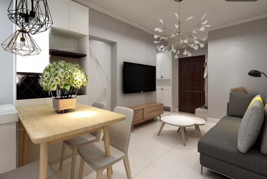 一室一厅北欧风格客厅_60平米北欧风装修效果图