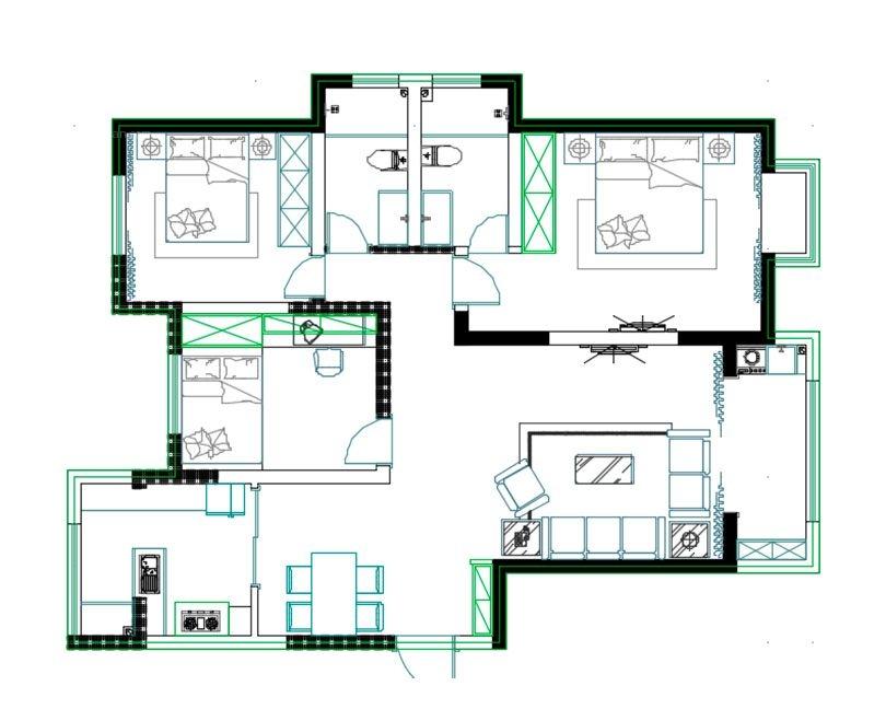 郑州美巢未来华庭现代轻奢主义三室135平装修效果图