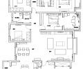 郑州美巢尚书苑新中式风格设计240平四室大平层装修效果图
