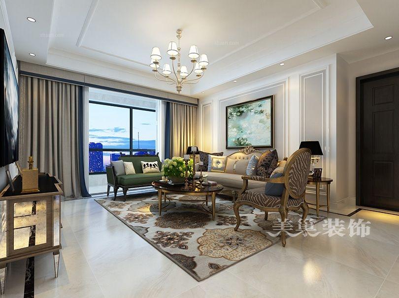 郑州美巢广电天韵138平三室两厅户型简美风装修效果图