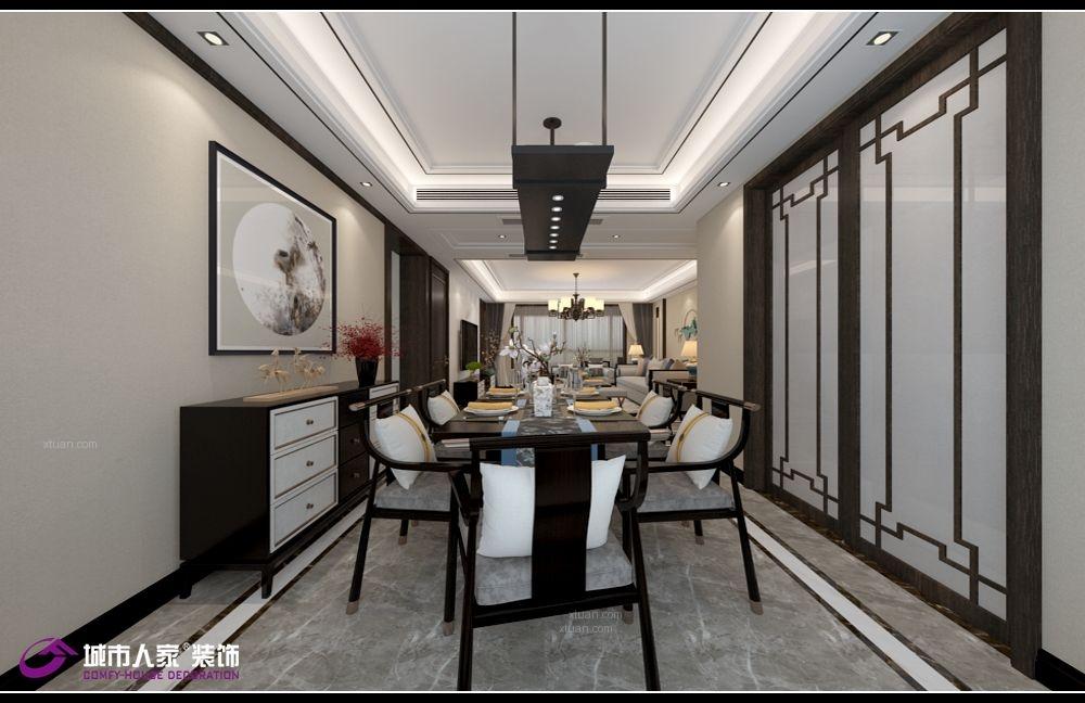 万达文旅城160平装修新中式风格