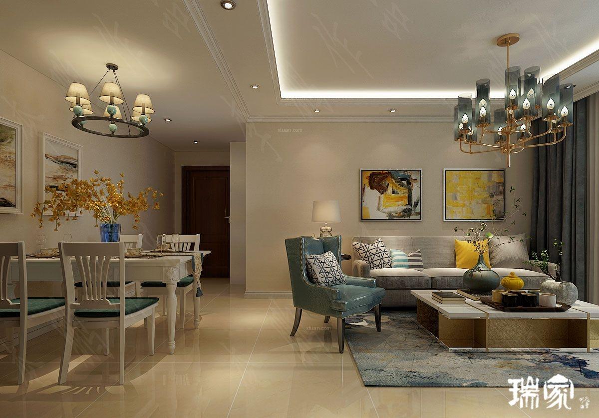 两室一厅简欧风格客厅沙发背景墙