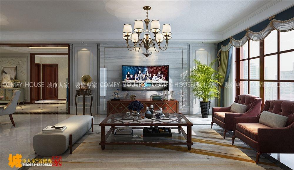 三居室美式风格客厅软装