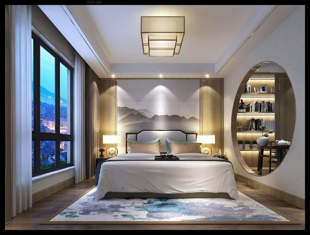大户型新中式卧室地台