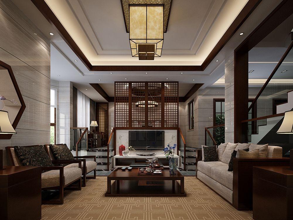 旭辉圆石滩别墅项目装修中式风格