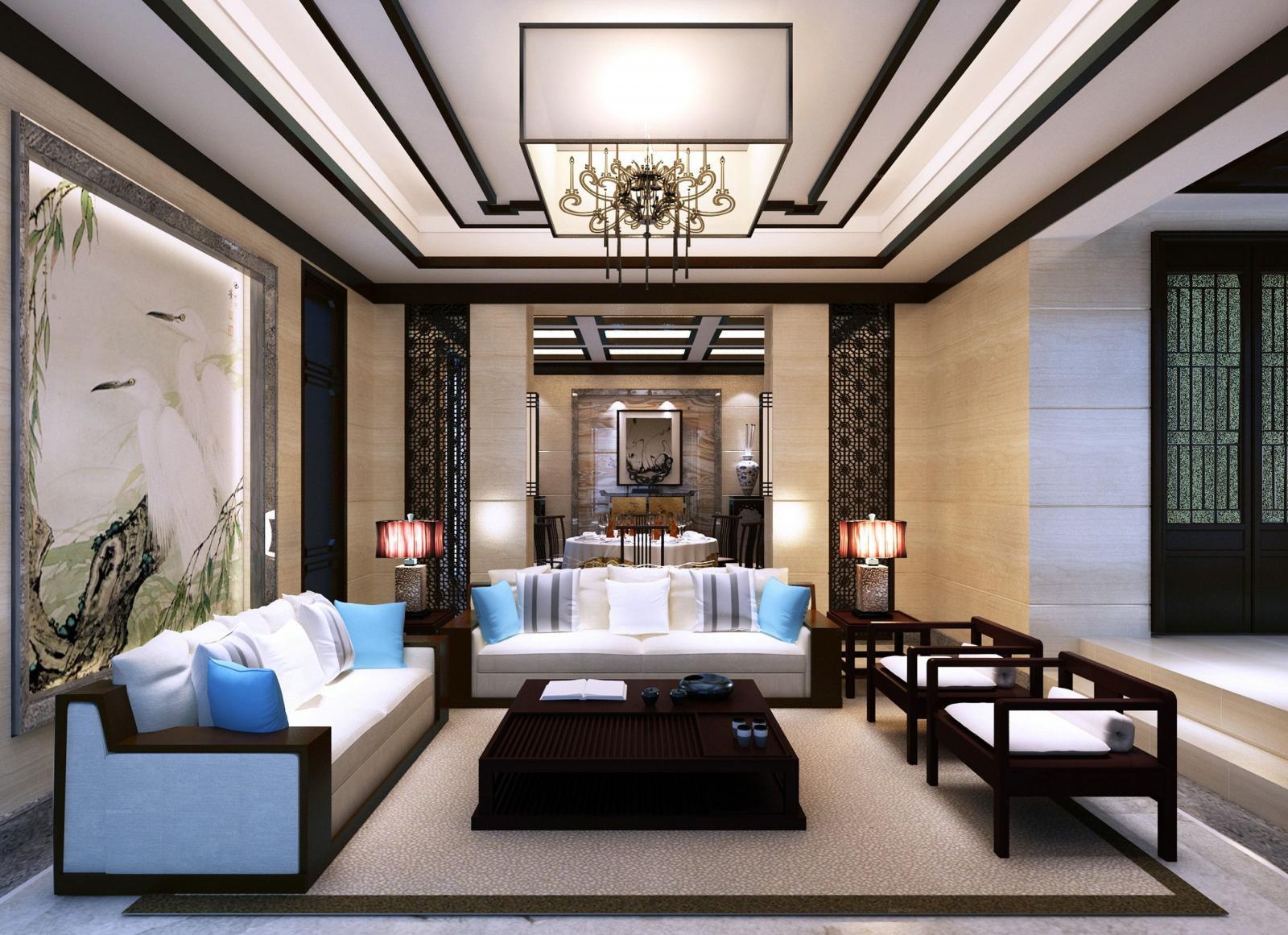 别墅中式风格客厅电视背景墙