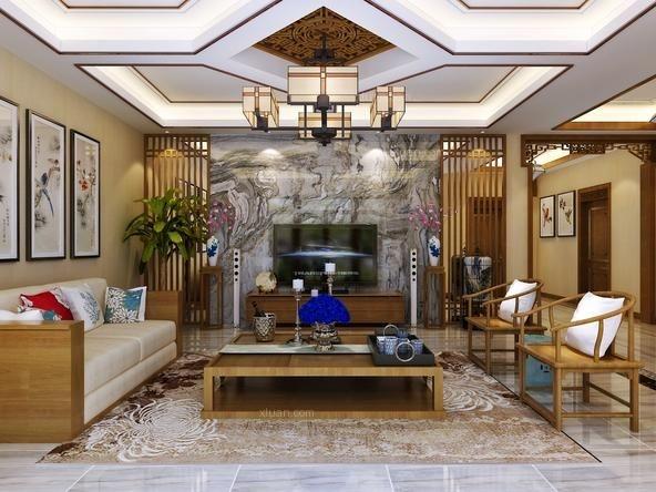 别墅现代风格客厅电视背景墙