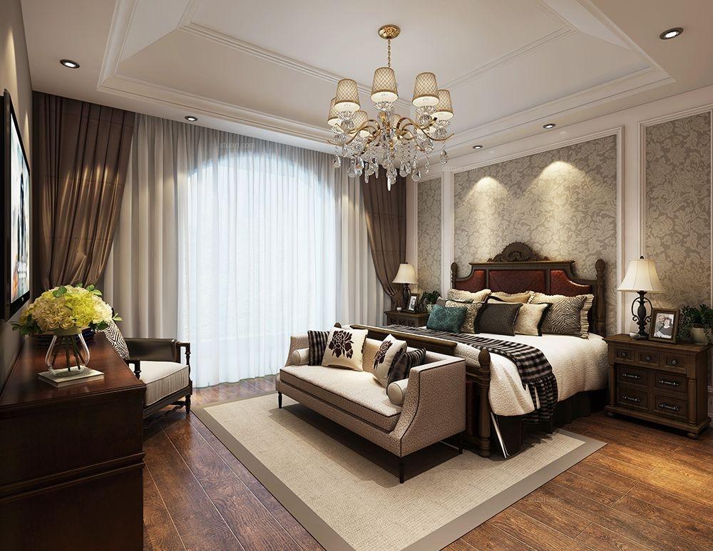 联排别墅现代风格卧室卧室背景墙